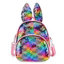 Chinese  NEW colorful Women bag Sequin gitter backpack cute Rabbit ears shoulder school bag kids kindergarten bags birthday gift MN1361 manufacturers