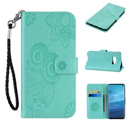 Discount cute galaxy note cases - For Huawei P30 Pro P Smart 2019 Nova 4 Imprint Owl Leather Wallet Case Galaxy S10 Lite Plus Flower Lace Cute Card Slot F