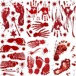 iron self NZ - Halloween Self-Adhesive Stickers Backdrop Stand Red Blood Footprints Bloody Handprints Stickers Decoration 30*45CM