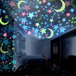 Glow Decor Australia - 100PC 3D Stars Glow In The Dark Wall Stickers Luminous Fluorescent Wall Stickers For Kids Room Bedroom Home Decor #30