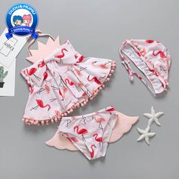 Wings Children Set Australia - flamingo Kids Swimwear angel's wings Girls Swimsuit Cartoon Girls Bikini Kids Bathing Suits Girls Swim Suits 3pcs Child Sets Beachwear A4162