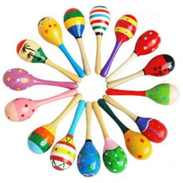 Musical instruMents orff online shopping - Kids Toys Wooden Maracas Baby Child Musical Instrument Rattle Maracas Cabasa Sand Hammer Orff Instrument Baby Toy GGA2617
