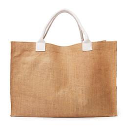 $enCountryForm.capitalKeyWord Australia - Wholesale Ready To Ship Burlap Tote Bag Linen Large Shoulder Bag Personalized Ladies Carryall Bag DOM-108288