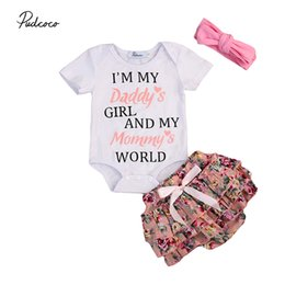 $enCountryForm.capitalKeyWord NZ - 3PCS Set Lovely Newborn Baby Girl Clothes Short Sleeve Letter Print Cotton Romper+Tutu Ruffles Floral Shorts Headband Outfits Y18120801