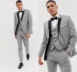 $enCountryForm.capitalKeyWord NZ - Custom Made Grey Mens Suits Black Lapel Slim Fit Wedding Suits for Groom   Groomsmen Prom Casual Suits (Jacket+Pants+Vest+Bow) DH6309
