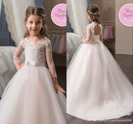 e29ec447a New Fashion White Tulle Lace Flower Girls Ball Dresses Open Back Little  Queen Vestido de nina de las flores