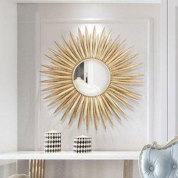Europeu de Luxo ferro forjado parede Sun flor decorativa espelho Crafts Hotel Home Sofá fundo 3D Stereo Ornamentos Mural Decor venda por atacado