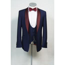 images fashionable suits Australia - Fashionable One Button Groomsmen Shawl Lapel Groom Tuxedos Men Suits Wedding Prom Dinner Best Man Blazer(Jacket+Pants+Tie+Vest) 525