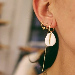 Earring Stud Boho Australia - 4 Pcs set Boho Shell Geometry Stud Earrings For Women Alloy Tassel Vintage Aros Wedding Bohemian Jewelry Accessories Wholesale