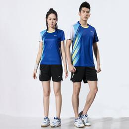 Badminton Games Australia - Adsmoney Women   Men Short Sleeve Tennis Clothes Suit , Table Tennis Shirt Team Game Sportswear T Shirts Badminton Sets