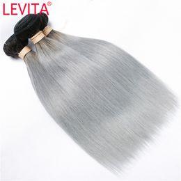 ombre gray hair 2019 - LEVITA #T1B GRAY Raw Indian Straight Human Hair Weaves Indian Virgin Hair 2 Tone Color 3 Bundles 12-18 Inch Human Hair E