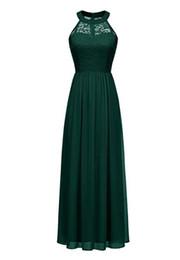 $enCountryForm.capitalKeyWord UK - Dark Green Bridesmaid Dress Floor-length Chiffon Party Gown Halter Custom Made Bridesmaid Dresses Lace and Chiffon Wedding Evening Gown