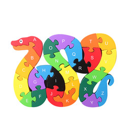Baby Kids Children Wooden Toys Alphabet Number Building Jigsaw Puzzle Snake Shape Funny Digital Puzzle Game Educational Toys Christmas Gift on Sale