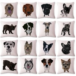 dog black animals cases Canada - Cute Cartoon Dog Puppy Pillow Case Animal Art Chair Seat Sofa Nap Back Cushion Cover For Living Room Home Decor 45*45cm