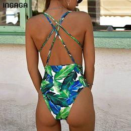 8a5d859657efa Ingaga Tropical One Piece Swimsuit 2019 High Cut Swimwear Women Sexy Deep V Women  Swimsuits Leaf Printing Beachwear Y19052702