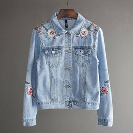 coats factories NZ - Women Slim Flowers Embroidered Long Sleeve Turn Down Collar Denim Jacket Women's Jeans Coat factory SH190902