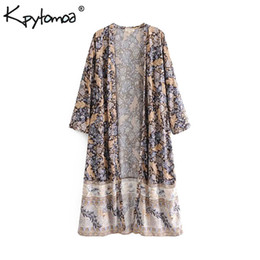 Boho Chic Summer Vintage Floral Print Kimono Women 2019 Fashion Three Quarter Sleeve Loose Beach Blusas Camisas Blusas Mujer Y19062501