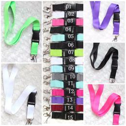 Venta al por mayor de Pink Grey cordón Ropa CellPhone Lanyards Llavero Collar ID de trabajo Cuello Moda Correa Logotipo personalizado Negro para el teléfono 15 colores