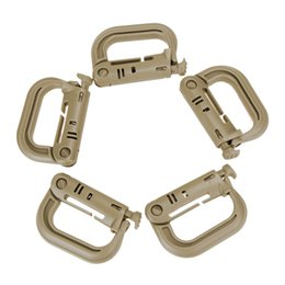 wholesale plastic snap hook NZ - limbing Accessories 5PCS Grimloc Molle Carabiner D Locking Ring Mount D-Ring Clip Snap Hook Buckle Plastic 4 Color Climbing Accessories O...
