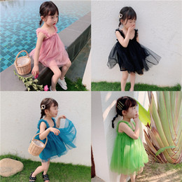 Fairy Style Dresses UK - Retail baby girl dresses infant sleeveless Suspender ruffle fairy princess prom dress fashion kids designer clothes girls party beach dress