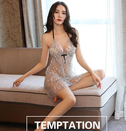 Hot Transparent Suit Australia - Free shipping hot sale Thin sexy pajamas sexy lingerie female autumn hot adult passion suit mood dress small chest nightie transparent a007