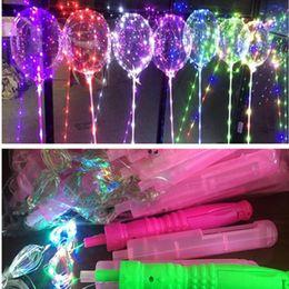 Clear Balls Australia - HOT LED bobo ball light up bobo balloons with handle + 3m led lights string transparent clear bobo balloons LED Gadget wholesale free DHL