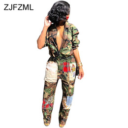 Camouflage Jumpsuits Australia - Camouflage Printed Casual Overall For Women Turn-Down Collar Long Sleeve Harajuku Jumpsuit Streetwear Front Zipper Party Romper