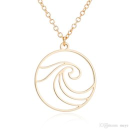 """Rose Contracting NZ - """"Stainless Steel Pendant Brass Chain Necklace Charm Women Choker Jewelry Collier Contracted Cute waves in circle Necklaces NYX-21"""""""
