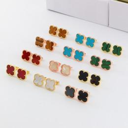 Sport Ladies UK - Four Leaf Clover Women's Stud Earrings Fashion 18K Rose Gold Lady Earrings Titanium Steel Sport Earrings Popular Lovers Two Color Earring