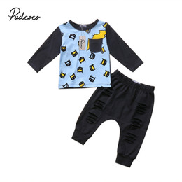 baby boy batman clothing UK - Batman Kids Baby Boys Outfits Clothes T-shirt Tops and Long Hole Pants Set 0-24M baby boy clothes baby clothing