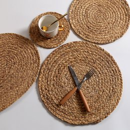 free shipping weave japan UK - 4 Pcs Set Heat Resistant Table Kitchen Gadget Tools Eco-friendly Straw Braid Round Placemats Grass Cushion Woven Cup Mat free shipping