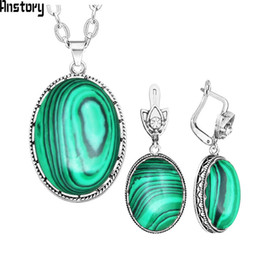 $enCountryForm.capitalKeyWord Australia - ewelry sets for women Oval Malachite Necklace Earrings Jewelry Set For Women Vintage Hollow Flower Pendant Stainless Steel Chain Fashion ...