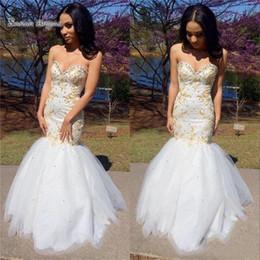 White Maxi Prom Dresses Australia - 2019 Classic White Gold Mermaid Prom Dressess Sweetheart Sleeveless Beads Tulle Formal Long Evening Maxi Dresses