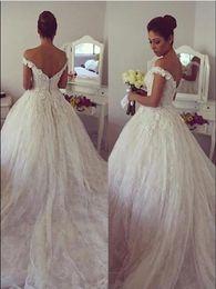 best ball gown wedding dresses 2018 - Best Selling Lace Ball Gown Vestidos De Noiva Bride Dresses Chapel Train Off The Shoulder Handmade Flowers Gorgeous Brid