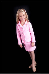 little girls pageant suits UK - 2019 Pink Short Column Custom Girl's Interview Suit V-neck Custom New Beauty Long Sleeves Children's Clothes Little Girl Pageant Suits