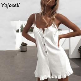 White Shorts Australia - Yojoceli White Cotton Casual Jumpsuit Romper Women Strap Boho Beach Short Playsuit Summer Female Overalls Q190521