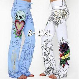 White Rose Pattern Australia - 2019 New Long Pants Hippie Wide Leg Boho Blue White Trousers Flower Fashion Women Baggy Skull Rose High Waist Printed