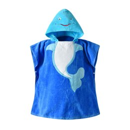 Blue Cotton Cloak UK - 19 years new children's bathrobe baby blue whale cotton hooded hooded cloak cloak baby bath towel