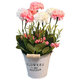 Wholesale Artificial Flower Simulation Flower With Iron Bucket Desktop Plant Pot Artificial Bonsai Plants Pink