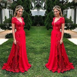 $enCountryForm.capitalKeyWord Australia - Fashion Red Lace Prom Dresses Long 2019 Sexy Deep V Neck A Line Prom Gowns Customized Short Sleeve Slim Fit Formal Party Dress