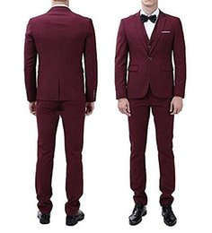 Discount images three piece wine suit - New Popular Back Vent One Button Wine Groom Tuxedos Notch Lapel Men Suits Wedding Prom Dinner Best Man Blazer (Jacket+Pa
