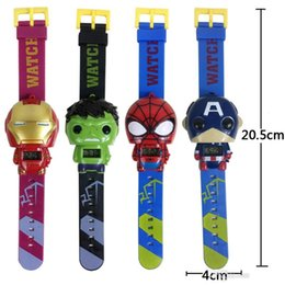 Wholesale Kids Avengers deformation watches New Children Superhero cartoon movie Captain America Iron Man Spiderman Hulk Watch toys K534