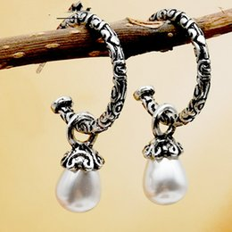 Statement Vintage Pearls Australia - New Vintage Antique Silver Retro Baroque Style Filigree Engraved White Pearl Dangle Hoop Earrings for Women Statement Earrings Wholesale