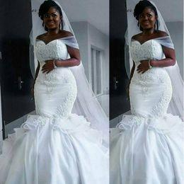 Nigerian White Lace Short Dress Styles Australia - 2019 Nigerian Style Mermaid Wedding Dresses Off The Shoulder Sweep Train Ruffle Plus Size Bridal Gowns Lace Applique Corset Wedding Dress