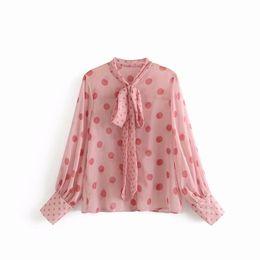 $enCountryForm.capitalKeyWord NZ - Breetrendy vintage pink color dot print bow knot tie see through chiffon blouse women summer sunscreen long sleeve blouses