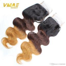 $enCountryForm.capitalKeyWord Australia - New Brazillian Body Wave Lace Closure 4x4 Free Middle Part Color 1B 4 27 30 Ombre Human Hair Brazilian Body Wave Top Closure
