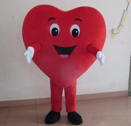 Discount red heart mascot - 2018 High quality hot happy big red heart mascot costumes for adult to wear