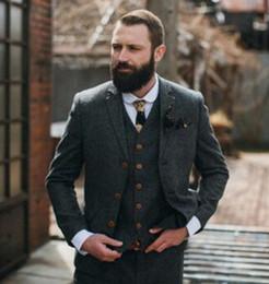 Custom Tweed Suit NZ - XLY 2019 Dark Grey Tweed Casual Men's Suit For Wedding Classic Blazer Masculino Party Prom Custom 3Pieces Groom Tuxedos(Jacket+Pants+Vest)