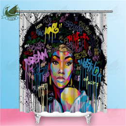 Wholesale Vixm Art Design Graffiti Art Hip Hop African Girl with Black Hair Big Earring with Modern Building Shower Curtain for Bathroom Decor