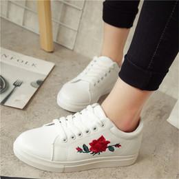 $enCountryForm.capitalKeyWord Australia - Fashion Autumn Embroidery Rose Moccasins Women White Casual Shoes Flat Walking Shoes Espadrilles Students Shoe Tufli Tennis